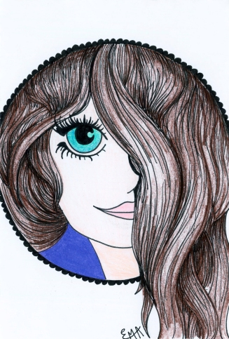 Girl in Circle Colored Pencil